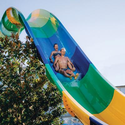 Classic Twists and Turns; Green, Blue & White Inner Tube Slide